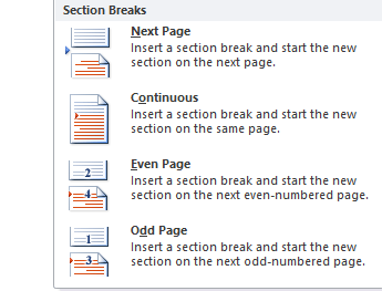 create a section break