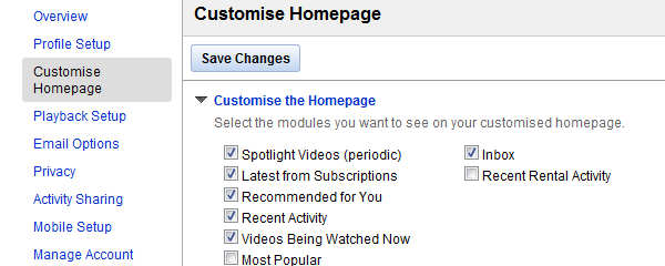 customize homepage