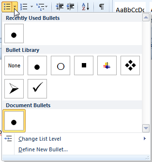 Create a Custom Bullet in Word