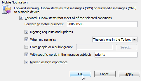 Create a Rule in Outlook 2010