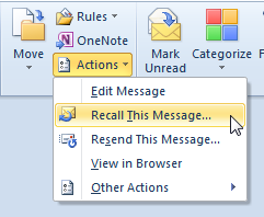 Recall a Message in Outlook 2010