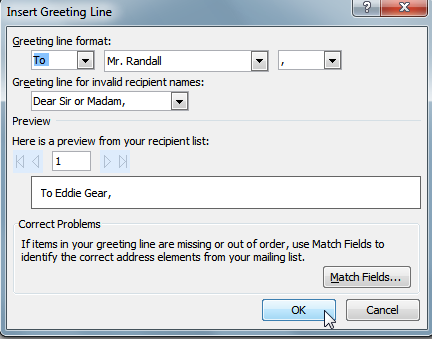 How to perform mail merge - insert greeting