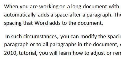 default spacing in a word document