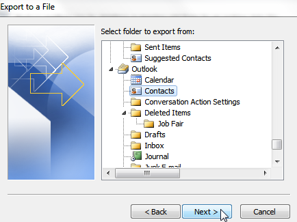 export contacts from outlook - 6