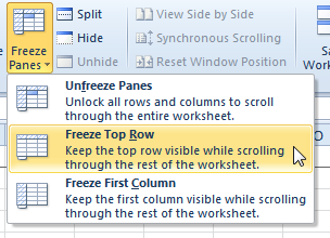 How to Freeze Rows and Columns in a Worksheet