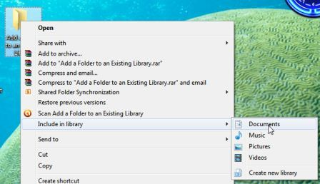 how to add a folder to an existing windows 7 library