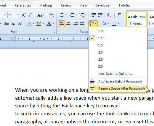 remove space after paragraph