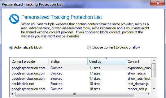 personalised tracking protection list