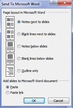 send to microsoft word dialog box