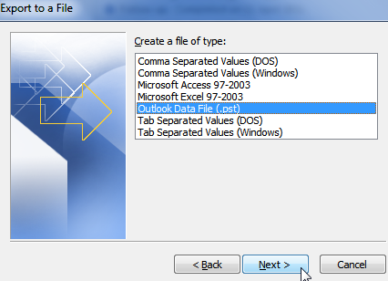 create an outlook data file