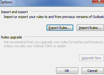 options dialog box to backup outlook rules