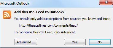 Microsoft Outlook RSS message box