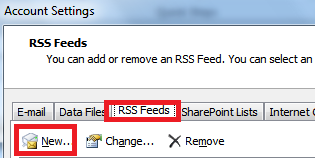 RSS Feeds tab