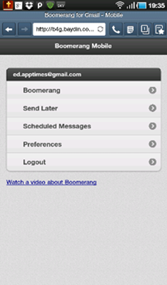 Boomerang Home screen