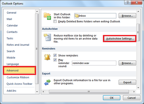 Outlook options dialog box