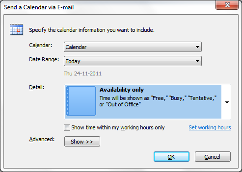 share outlook calendar via email