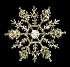 Gold 4 inch Snowflake Christmas Ornaments