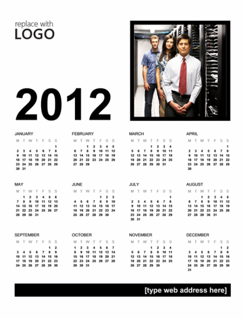 One Page Business Calendar