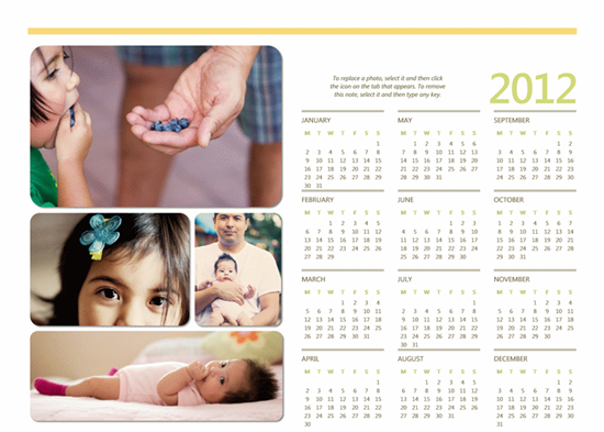 2012 Calendars for Word 2010