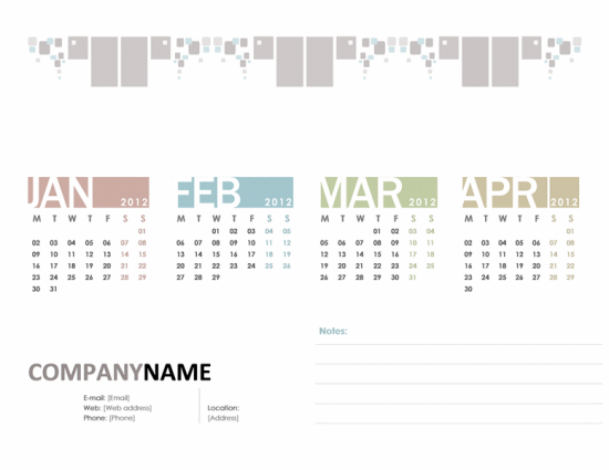 Quarterly Business Calendar