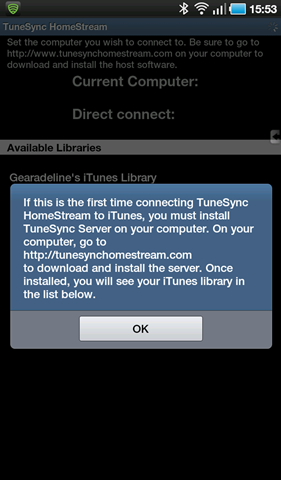 tunesync homestream