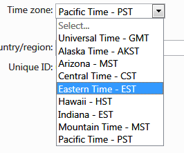 change time zone