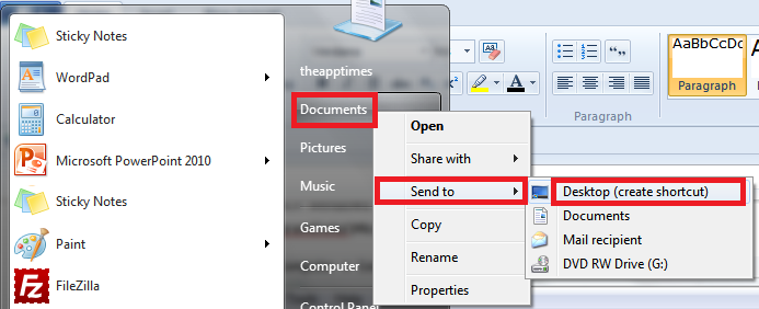 create documents shortcut