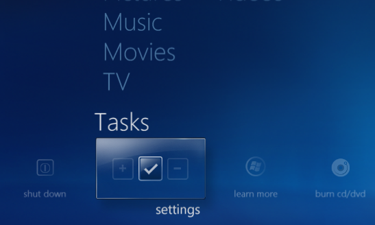 windows media center tasks