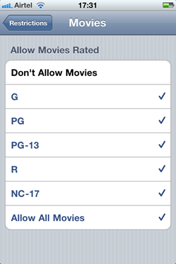Movie Restrictions