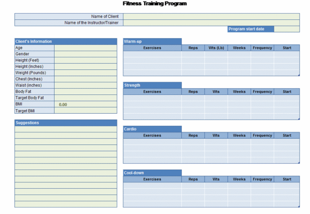 This awesome Excel template is ideal for planning your fitness regime ...