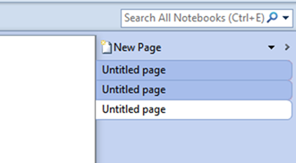 New page in onenote