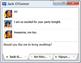 a conversation in Facebook Messenger app for windows 7