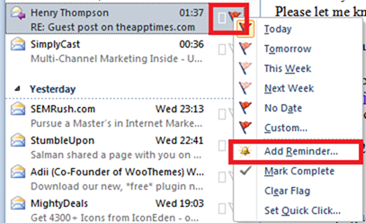Create outlook Reminder for Email