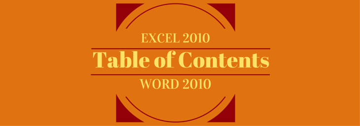 How to create a table of contents in excel and word 2010 for Table of contents template word 2010