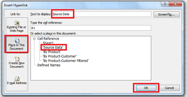 insert hyperlink dialog box - Create a Table of Contents