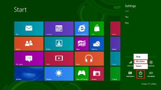 Shut Down the Windows 8 PC