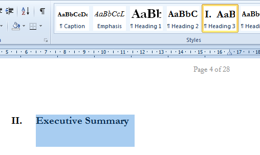how to use table of contents in word 2010