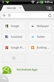 Dolphin Browser HD main screen
