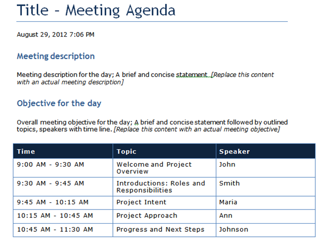 Meeting Agenda Template Word 2010 images – Microsoft Word Agenda Templates