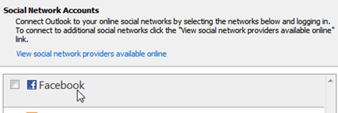 Connect to Facebook using Microsoft Outlook Social Connector