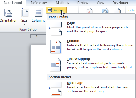 how to create a section break in word