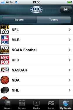 Fox Sports Mobile - My sports tab