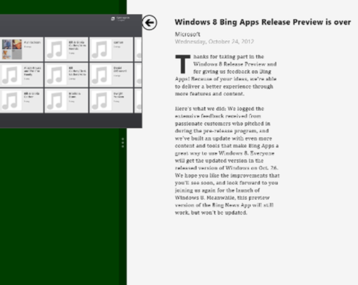 how to display two apps in windows 8 - drag to left of screen