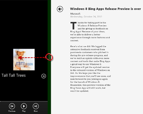 how to display two apps using snap in windows 8