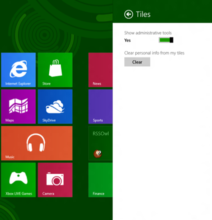 Find Administrative Tools in Windows 8