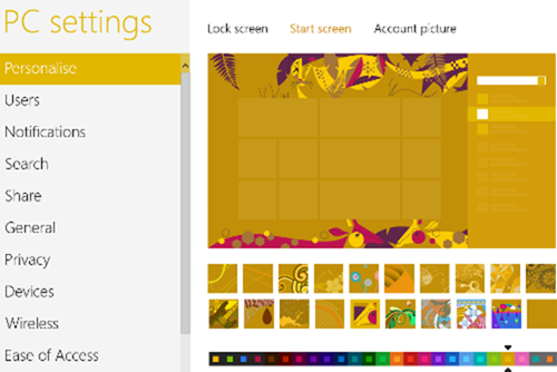 how to personalize windows 8 start screen  - add a background color