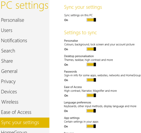 how to sync your windows 8 user accounts across devices