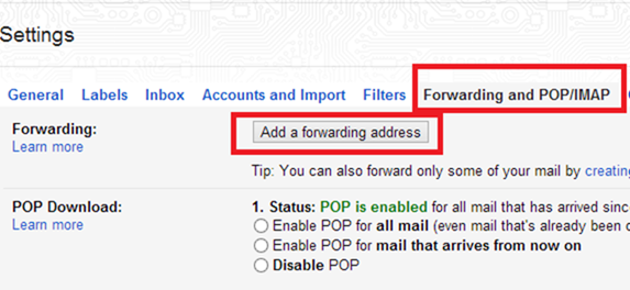 add a forwarding address