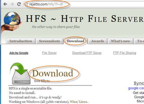hfs-ui - how to transfer files to windows phone