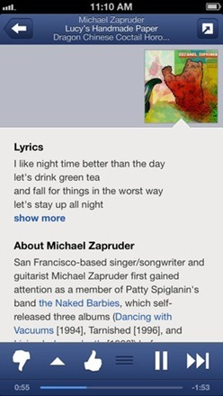 pandora radio app - lyrics